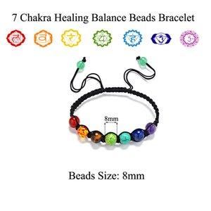 Günstige 7 Chakra 8mm Korn-Stein-Armband Gebet Gleichgewicht Bunte Heilung Reiki Perlen Yoga Energie Chakras Wove Armband Schmuck Geschenke