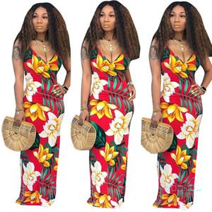 Le donne profondo scollo a V Sling Dress Flora Stampa Beach spaghetti aderente vestiti della Boemia sexy sottile abiti senza schienale maxi vestiti gonna C51407