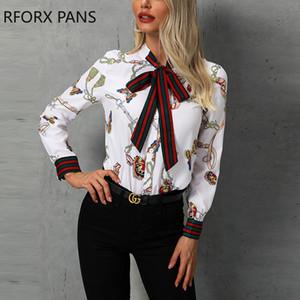 Cadeia de impressão Amarrado pescoço Casual Blusa Mulheres