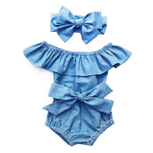 0-24 M nouveau-né bébé fille Denim Body Set Off-Shoulder Bowtie Ruffle solide Sunsuit avec bandeau Vêtements d'été mignon