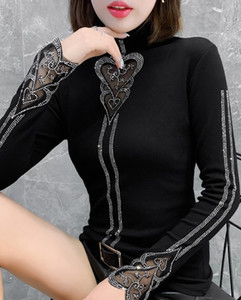 New Arrival Hot Sale Special Fashion Korean Version Long-Sleeved Female Blouse Fairy Lace Cutout Hot Rhinestone Black Turtleneck Tide Shirt