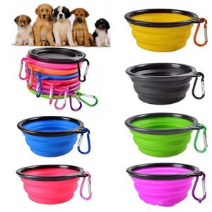 DHL de envío de viaje plegable del gato del perro plato de alimentación cuenco de agua para mascotas alimentador de silicona plegable Tazón Con FY2054 gancho