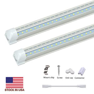 Stock In USA V-Shaped 2ft 3ft 4ft 5ft 6ft 8ft Cooler Door Led Tubes T8 Integrated Led Tubes Double Sides Led Lights fixture Replacement