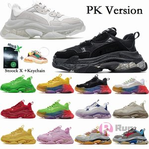 PK Version Triple S Designer Shoes Fashion Paris Tripler Black Vintage Luxury Sneakers Men Women Platform Casual Trainers Stock X Keychain
