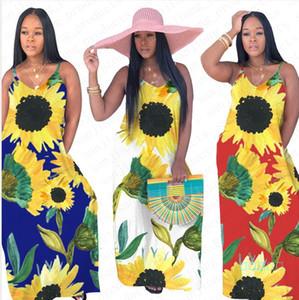 Kadınlar Uzun Elbise Giyim Casual Yaz Kolsuz Ayçiçeği Baskılı Elbiseler Etek BODYCON Parti Plaj Suspender Kat uzunlukta Etekler D5507