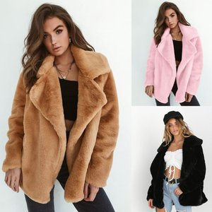 2020 Women Winter Plush Coat Soft Women Fur Jackets Turn Down Collar Warm Outwear Casual Female Pink Black Light Brown Coats