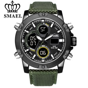 Smael Alloy Dial Watch Analog Lcd Digital Display Outdoor Men Sport Quartz Movement Date Stopwatch Back Light Nylon Band Watches Y19051503
