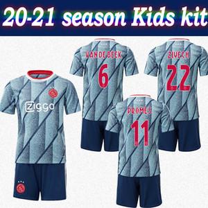 Enfants Kit 20-21 Ajax # 11 maillot extérieur PROMES 2020 soccer jersey enfant # 6 VAN DE BEEK # 22 ZIYECH personnalisés shirt ajax de football avec un short