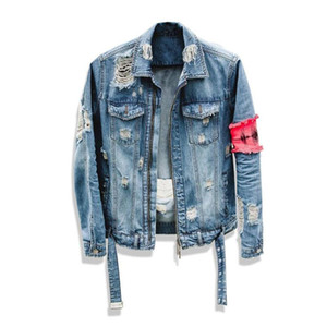Jean Jacket » Masculine Streetwear Hip Hop Denim Flight Jacket Men Marque Denim Ripped Fashion Casual Veste Hommes M-2XL