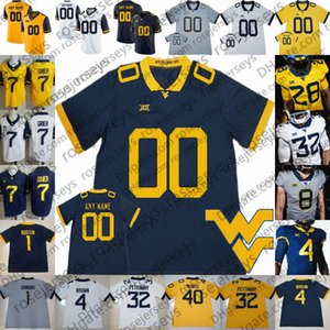 Personalizado West Virginia Mountaineers NOVO WVU Football Branco Azul Amarelo 2 Jarret Doege Grier Pettaway McKoy Simmons Kendall Homens Juventude Jersey