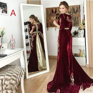 Bourgogne robes de soirée 2020 Prom Robes Moyen-Orient Dubaï Abaya Kaftan Kleider robes de soirée Abendkleider
