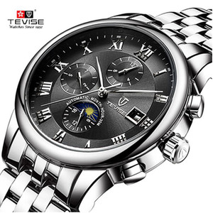 TEVISE Mens Watches Men Automatic Mechanical Watch Self Wind Stainless steel Business Military Wristwatch Relogio Masculino
