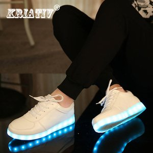 Kriativ Usb Charger Tenis Led Enfant Light Up Trainers Kid Casual Shoes Boy&girl Luminous Sneakers Glowing Shoe Led Slippers S200107