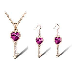 Yeni varış moda küpe kolye kristal aşk kilit tam rhinestone anahtar twinset-cochleare Takı seti