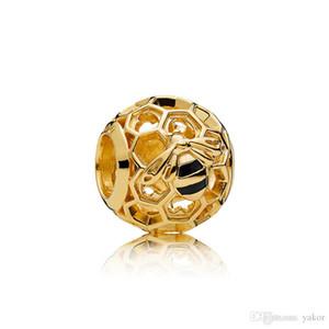 Новые роскоши 18K желтые золотые пчелы сота Charm Charm набор Оригинальная коробка для Pandora 925 Стерлингового серебра 925 DIY Bracte Bracte Combalms Аксессуары для ювелирных изделий