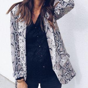 الدعاوى التجارية للمرأة الأزياء الأفعى طباعة الخريف الشتاء طويلة الأكمام معطف المرأة سترة ليوبارد أنثى سترة السترة feminino MX190810