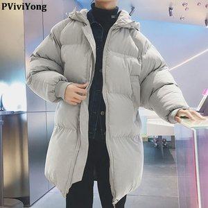 PViviYong 2019 новая мода зима с капюшоном высокого качества пальто людей, хлеб костюм длинные куртки мужчины утепленная MY31