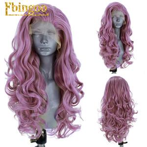 Ebingoo parte libera ad alta temperatura a fibra lunga onda del corpo lavanda viola Synthetic Lace Front parrucche per le donne