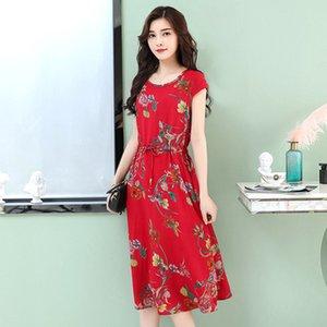 Sommerkleid für Frauen mit mittlerem Alter aus Baumwolle und langem, langem, schmalem Rock aus Baumwolle