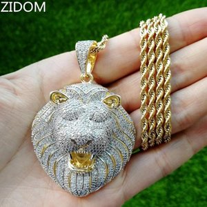 Gli uomini Hip hop Bling fuori ghiacciato Lion ciondolo collane di alta qualità zircone Hiphop collana animale monili di modo goccia