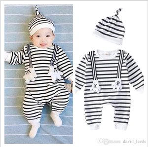 2018 New Baby Rompers Spring Autumn Infant Boys Girls Striped Jumpsuits Toddler Long Sleeve Romper Onesies With Hats 2pcs Sets 4set lot