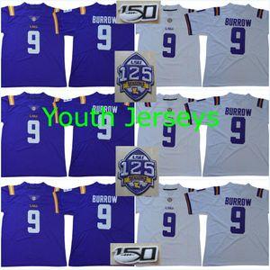 Juventude # 9 Joe Burrow LSU Tigers 1918 Silencioso Temporada 2018 125 Remendo 150º nº 3 Odell Beckham Jr. # 7 Fournette Peterson Mathieu Colégio Jerseys