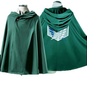 2 colores Anime Attack on Titan Unisex Cosplay verde y negro capa escocesa Legión con capucha del cabo