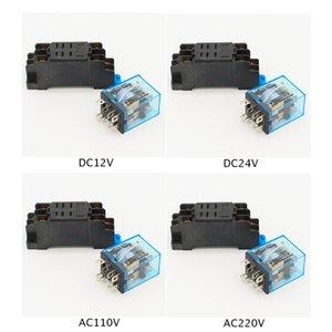 새로운 DC12V DC24V AC110V AC240V 전원 릴레이 HH52P-L 8 핀 소켓베이스 쉬운
