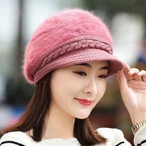 Hiver corean version chapeau cheveux chapeau neuf style couleur solide canard canard langue rabbit cheveux béret décontracté joker thermique tricoter chapeau à jolie femme