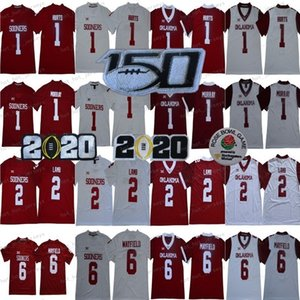 NCAA Oklahoma Sooners College 2 CeeDee Lamb 1 Kyler Murray 6 Baker Mayfield 1 Jalen Hurts Hommes Enfants 2020 Peach Bowl 150e Maillots de football
