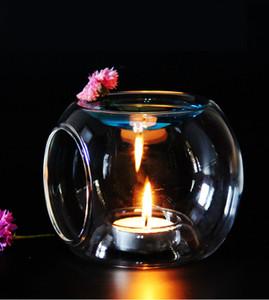 Candelabro de cristal de la fragancia del aroma del aceite Quemador Portacandelitas cera de la vela Tarta temperatura muy elegante barato brief creativo Portavelas SH190924
