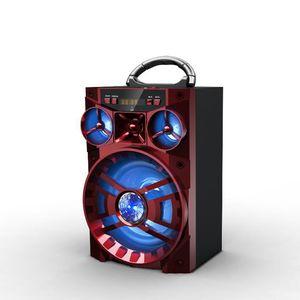 Gran sonido Altavoz de alta fidelidad Altavoces AUX Bluetooth portátiles Bajo Subwoofer inalámbrico Caja de música al aire libre con luz LED USB Radio FM FM