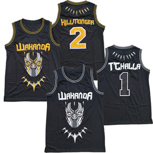 Hot The Black Filme Wakanda T'Challa Jersey preto costurado # 2 Erik Killmonger Basketball Jerseys Top Quality