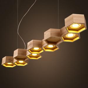 Madera Techo de luz LED de iluminación de la lámpara de la lámpara pendiente Fixture Comedor Nueva barra para el dormitorio de la sala Iluminación para el hogar PA0143