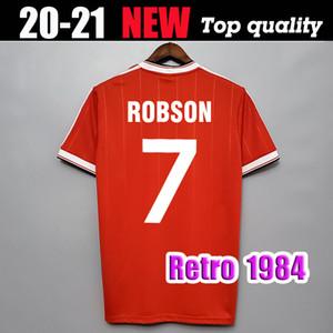 7. ROBSON futbol formaları 1984 1985 MAN UTD Maillot WHITESIDE MAN Birleşik 84 85 Klasik Vintage formalarını Mühren Strachan Olsen Retro