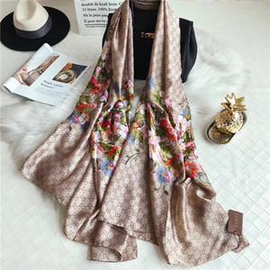 Beautiful Luxury flower letter women silk scarf designer classic style beach shawl headwrap silk scarves exquisite woman accessories silk sc