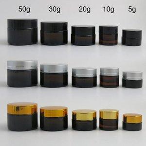 10 x 5g 10g 20g 30g 50g Portable Small Jars Pot Box Makeup Nail Art Cosmetic Bead Storage Container Amber Glass Cream Jar