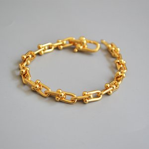 2020 New 14KGF Chunky Aluminum Link Chain Bracelets for Women Exaggerated Personality Punk Bracelet Fine Jewelry