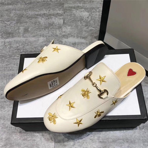 Moda feminina mulas Outdoor Flats sapatos de couro genuíno Designer luxo metal Cadeia Buckle Senhoras calçados casuais Q-414