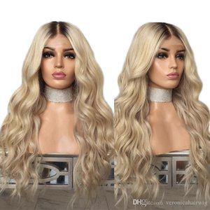 Fashion Brown Roots Ombre Blonde Wig Long Body Wave Black Roots Synthetic Lace Front Wig For Women Natural Hairline Full Hair Wigs