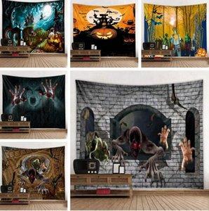 Halloween tapisserie crâne fantôme Citrouilles impression mur Blanket Trick Treat Ghost Horreur Tenture Chambre Salon Dorm Decor LSK657