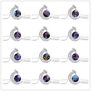 10 Yeni Starry Hayvan 12 Constellation İşaret Hilal Kolye Ay Süre Gemstone Kolye Kolye Half Moon Hayvan Burç Kolye Takı