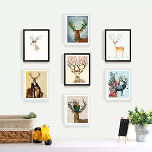 Pittura a olio di DIY decorato Animal Picture Art vernice pittura dipinta a mano Deer olio per il sofà della decorazione della parete No Frame 16 * 20inch DBC DH1495-1