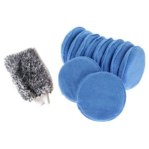 1x Maximum Absorbancy Glove High Density Microfiber & Microfiber 12Pcs Car Cleaning Polish Wax Foam Sponge Blue