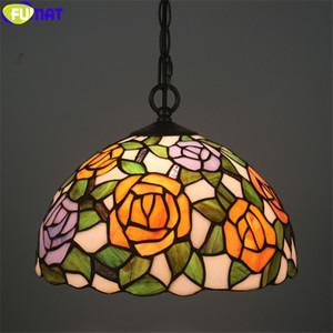 Bleu FUMAT Pendentif Tiffany Lampe Jaune Rouge Rose Fleur d'Orchidée Vitrail Gemstone Abat Lumière Artisanat Home Decor Lampes