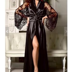 Mulheres Satin Kimono vestido sexy Maxi Vestido de renda Vestido de Alargamento da luva Veja throught cor sólida maxi vestidos para mulheres Robe De Dames