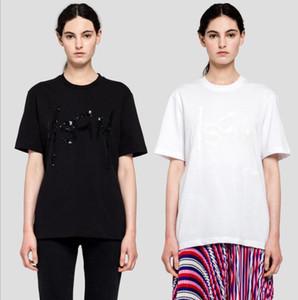 De alta qualidade! A nova primavera / verão 2020 MSGM algodão puro pérolas bordadas de lantejoulas T-shirt das mulheres negras e brancas de manga curta