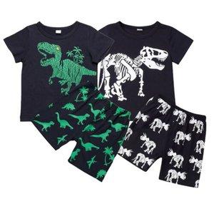 الصيف للجنسين الأطفال طفل جدي فتى طفلة مجموعة ملابس وتتسابق الديناصور الطباعة قميص + شورت الحيوان طباعة 2PCS