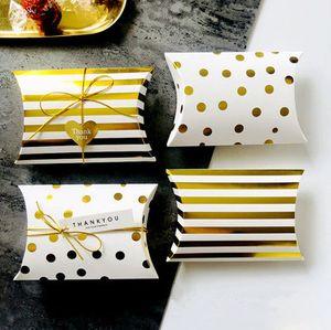 Caja de regalo de oro al por mayor estilo ins simple caja de galletas de caramelo de rayas de punto de oro boda cumpleaños pequeños regalos embalaje favores suministro