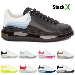 2020 amortiguador único crystle cuero genuino cordones de los zapatos ocasionales de la vendimia blanco triples clara únicos zapatos de diseño de plataforma hombres mujeres negras